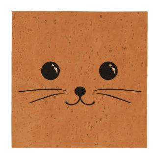 Diseño animal lindo de la cara del ratón de Brown Posavasos