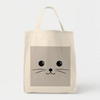Diseño animal lindo de la cara del ratón de plata bolsa tela para la compra
