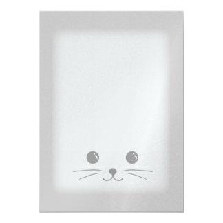 Diseño animal lindo de la cara del ratón de plata invitación 12,7 x 17,8 cm
