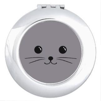 Diseño animal lindo de la cara del ratón gris espejos de viaje