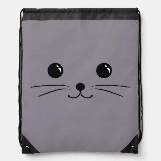 Diseño animal lindo de la cara del ratón gris mochilas