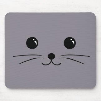 Diseño animal lindo de la cara del ratón gris mouse pad