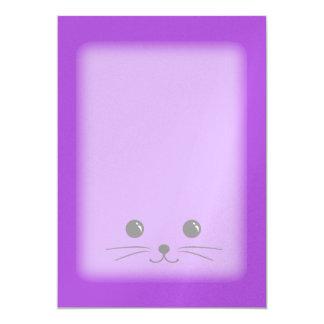 Diseño animal lindo de la cara del ratón púrpura invitación 12,7 x 17,8 cm