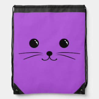 Diseño animal lindo de la cara del ratón púrpura mochila