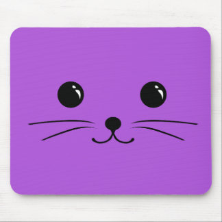 Diseño animal lindo de la cara del ratón púrpura mousepads