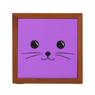 Diseño animal lindo de la cara del ratón púrpura portalápices