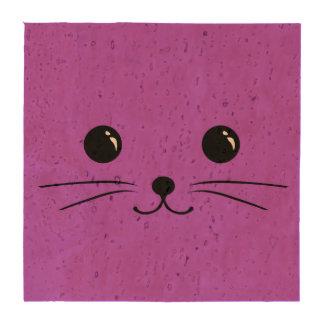 Diseño animal lindo de la cara del ratón púrpura posavasos