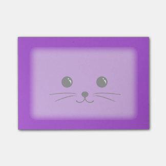Diseño animal lindo de la cara del ratón púrpura post-it notas