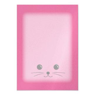 Diseño animal lindo de la cara del ratón rosado invitación 12,7 x 17,8 cm