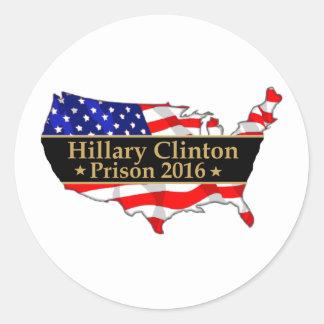 Diseño anti de Hillary de la prisión 2016 de Pegatina Redonda