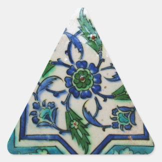 Diseño antiguo de la teja del otomano del vintage pegatina triangular