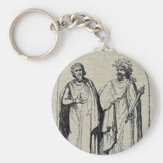 Diseño antiguo del grabado de los druidas antiguos llavero personalizado