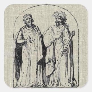 Diseño antiguo del grabado de los druidas antiguos calcomanía cuadradas personalizadas