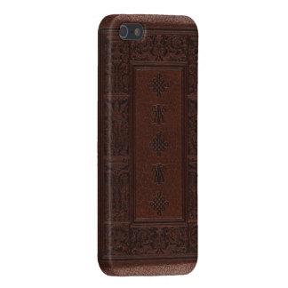 Diseño antiguo del libro grabado en relieve del cu iPhone 5 fundas