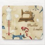 Diseño antiguo Mousepad de la costurera del vintag Tapete De Raton