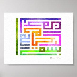 Diseño árabe colorido de Kufic con colores vibrant Posters