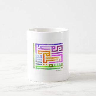 Diseño árabe colorido de Kufic con colores vibrant Taza Básica Blanca