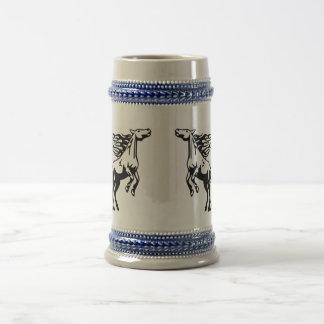 Diseño ardiente del caballo del arte de la sombra jarra de cerveza