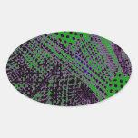 Diseño arquitectónico abstracto verde púrpura pegatinas de oval personalizadas