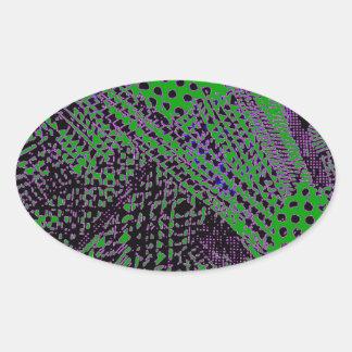 Diseño arquitectónico abstracto verde púrpura pegatina ovalada