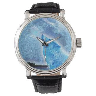 Diseño ártico de la fauna del lobo y de la luna reloj de mano