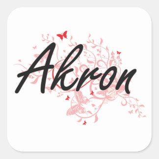 Diseño artístico de la ciudad de Akron Ohio con Pegatina Cuadrada