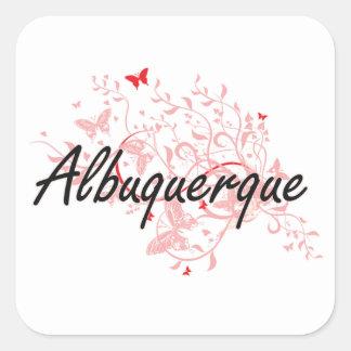 Diseño artístico de la ciudad de Albuquerque New Pegatina Cuadrada