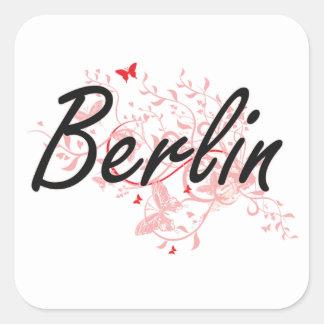Diseño artístico de la ciudad de Berlín Alemania Pegatina Cuadrada