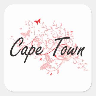 Diseño artístico de la ciudad de Cape Town Pegatina Cuadrada