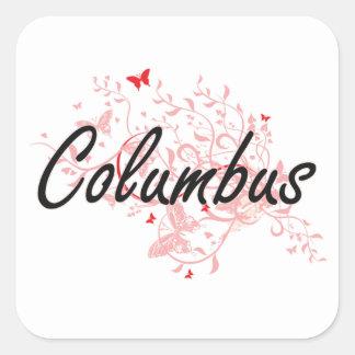 Diseño artístico de la ciudad de Columbus Ohio con Pegatina Cuadrada