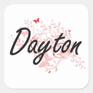 Diseño artístico de la ciudad de Dayton Ohio con Pegatina Cuadrada