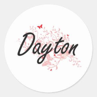 Diseño artístico de la ciudad de Dayton Ohio con Pegatina Redonda