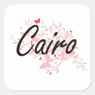 Diseño artístico de la ciudad de El Cairo Egipto Pegatina Cuadrada