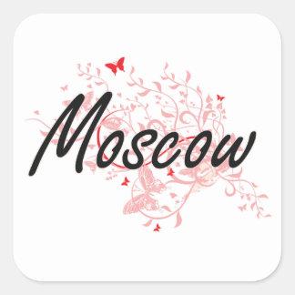 Diseño artístico de la ciudad de Moscú Rusia con Pegatina Cuadrada