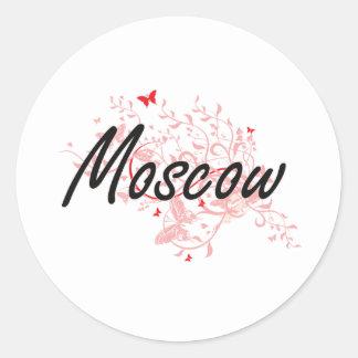 Diseño artístico de la ciudad de Moscú Rusia con Pegatina Redonda