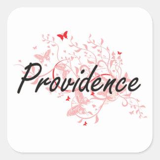 Diseño artístico de la ciudad de Providence Rhode Pegatina Cuadrada
