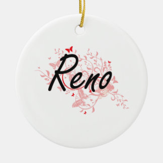 Diseño artístico de la ciudad de Reno Nevada con Adorno Navideño Redondo De Cerámica