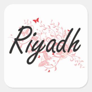 Diseño artístico de la ciudad de Riad la Arabia Pegatina Cuadrada