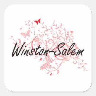 Diseño artístico de la ciudad de Winston-Salem Pegatina Cuadrada