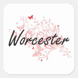 Diseño artístico de la ciudad de Worcester Pegatina Cuadrada