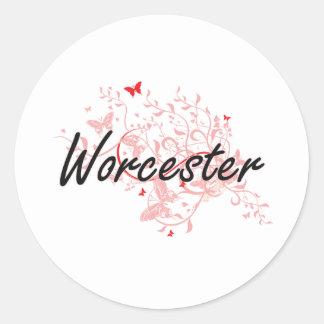 Diseño artístico de la ciudad de Worcester Pegatina Redonda