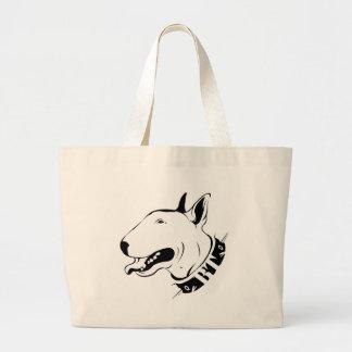 Diseño artístico de la raza del perro de bull terr bolsa tela grande