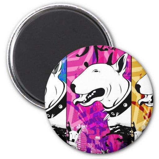 Diseño artístico de la raza del perro de bull terr imán para frigorífico
