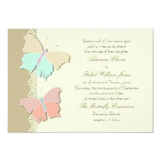 """Diseño artístico del boda de la mariposa de la invitación 5"""" x 7"""""""