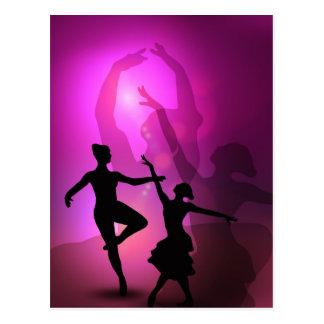 Diseño artístico del rosa de los bailarines de tarjetas postales