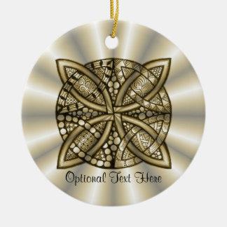 Diseño artístico original del nudo céltico del oro adorno redondo de cerámica