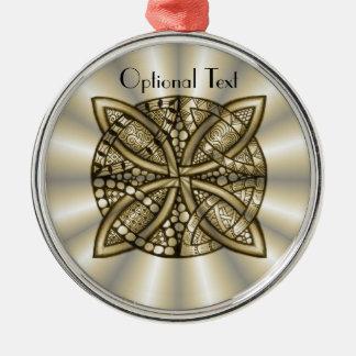 Diseño artístico original del nudo céltico del oro adorno redondo plateado