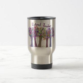 Diseño artsy jubilado de los árboles del profesor taza de viaje de acero inoxidable