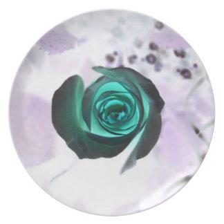 diseño aseado subió de la imagen de la flor del tr plato para fiesta