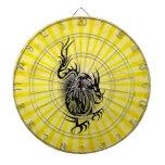 Diseño asiático amarillo del dragón tabla dardos